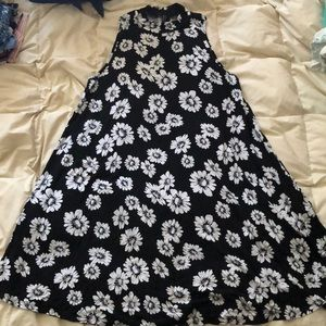 Black and White Floral Dress, High Neck